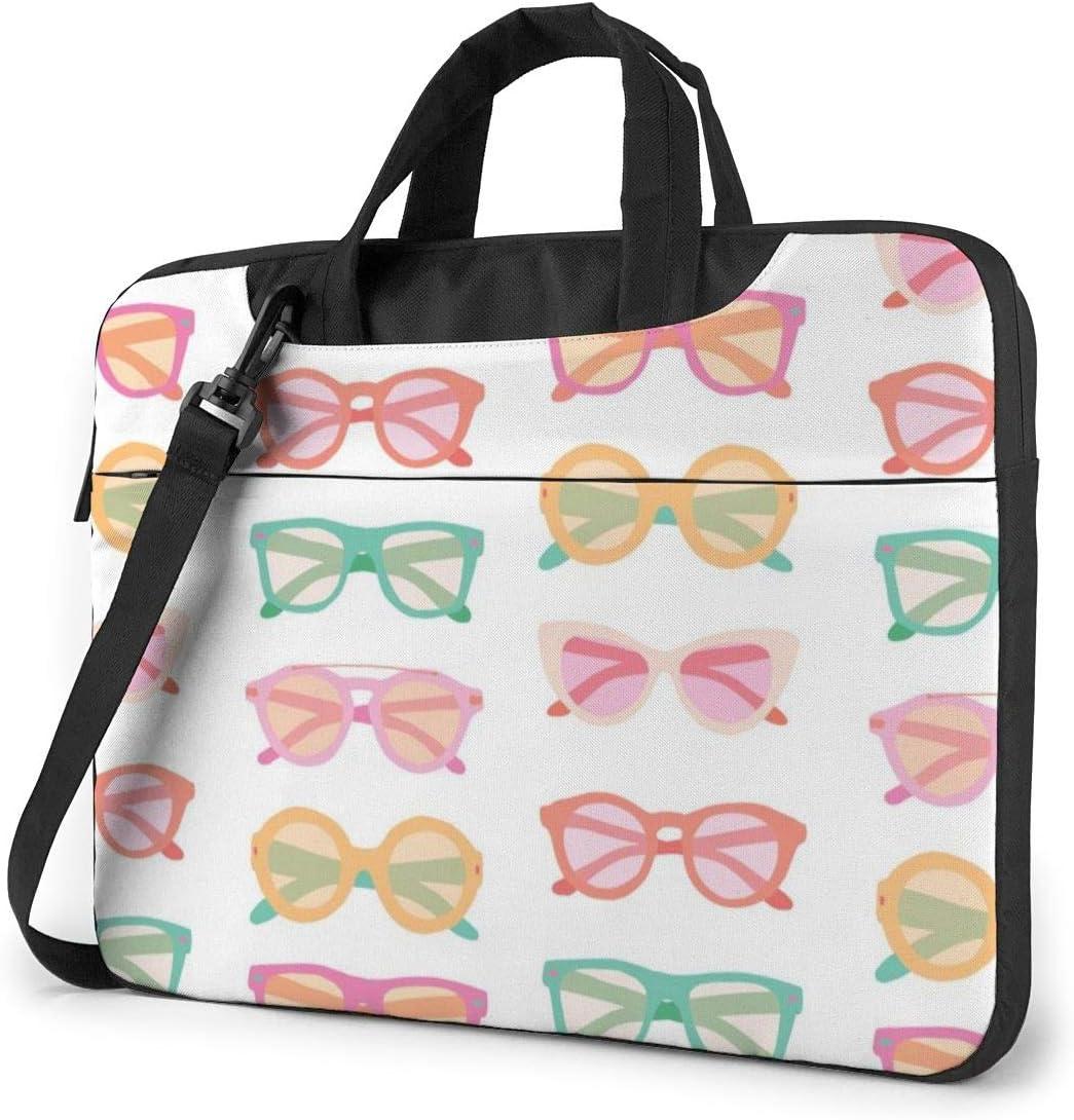 Laptop Shoulder Bag 13 Inch Colorful Glasses Pattern Briefcase Protective Bag