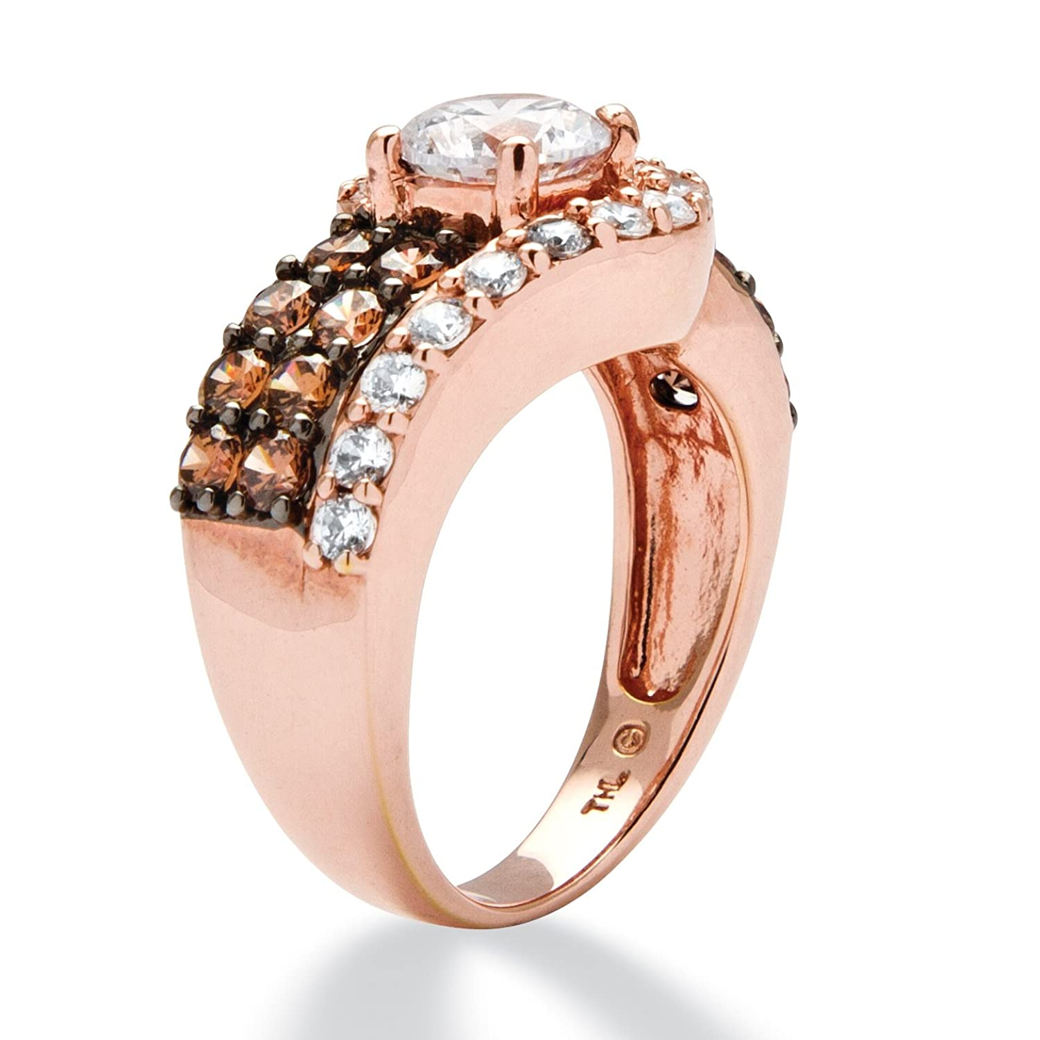 amazon com round white and chocolate cubic zirconia rose gold