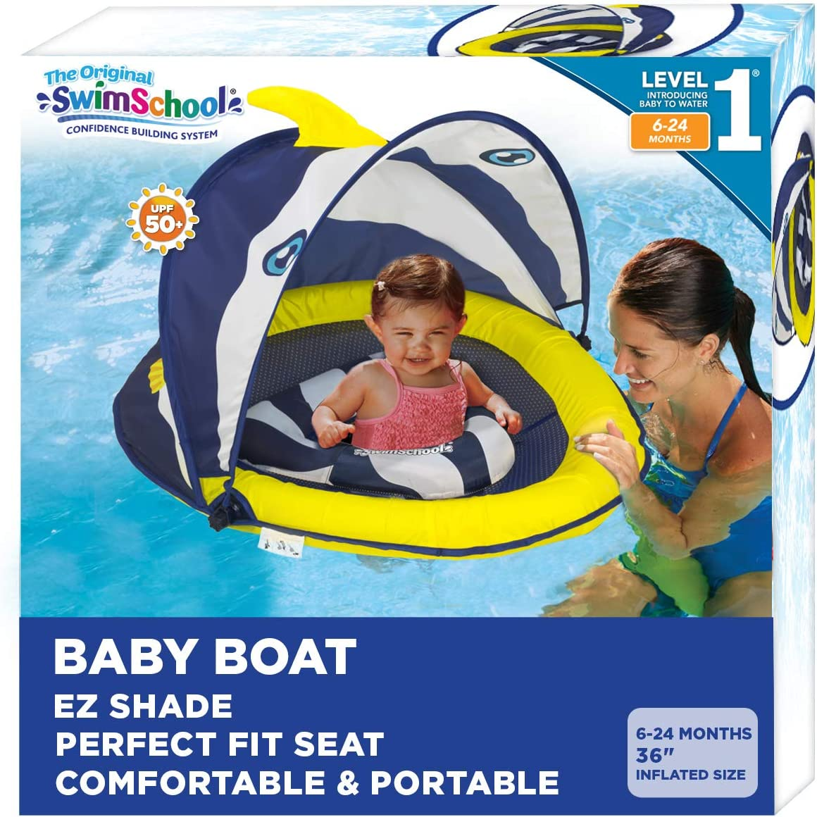 SwimSchool Navy/White Deluxe Infant Baby Pool Float $27.56 Coupon