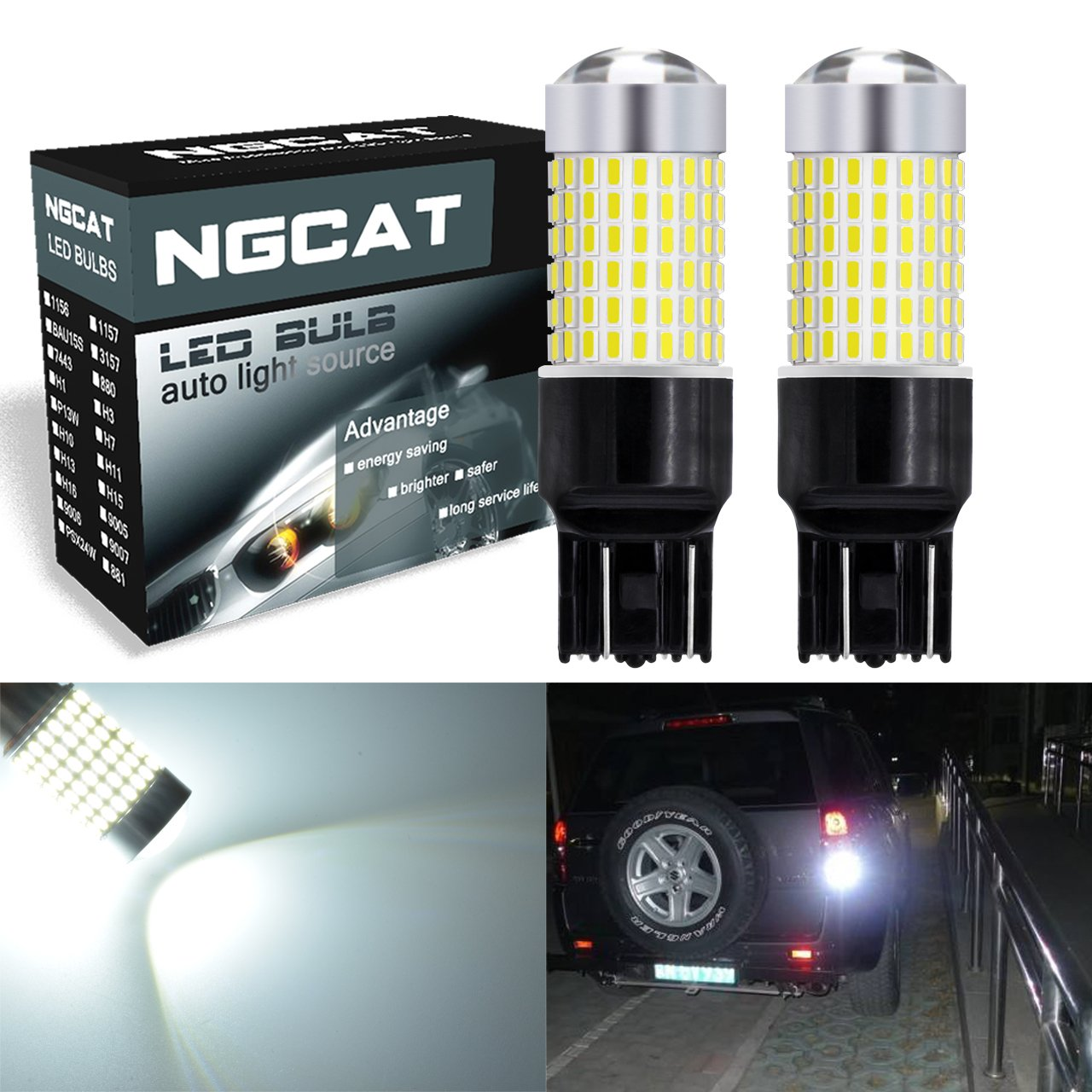 NGCAT 7443 Led Bulb 2PCS 1500 Lumens 3014SMD 144-EX Chipsets 7440 T20 Super Bright LED Bulbs with Lens Projector Automotive Exterior Turn Signals Back Up Reverse Lights Tail Lights, Xenon White 12-24V