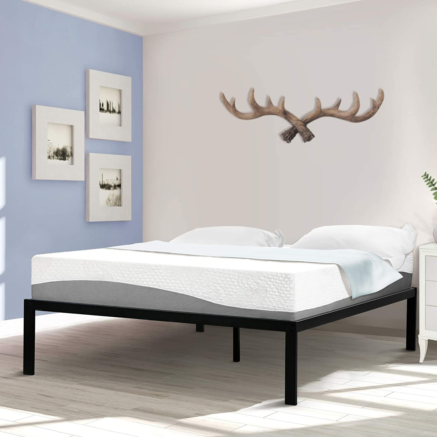 Sleeplace 16 Inch High Profile Tall Steel Slat Bed Frame Non Slip Support Ss 3000 King 16 Inch Tall