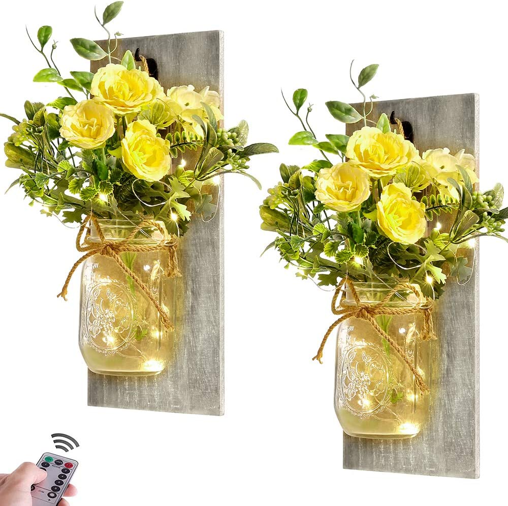 Wall Decor Mason Jar Sconces - Rustic Farmhouse Home Decor with Remote Control Wall Lights and Yellow Rose for Bedroom Wall Decor Living Room Kitchen Decorations Set of Two