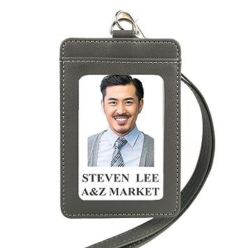lucstar ID Badge Holder Vertical Horizontal Tarjeta de crédito con cordón retráctil Clip para las mujeres