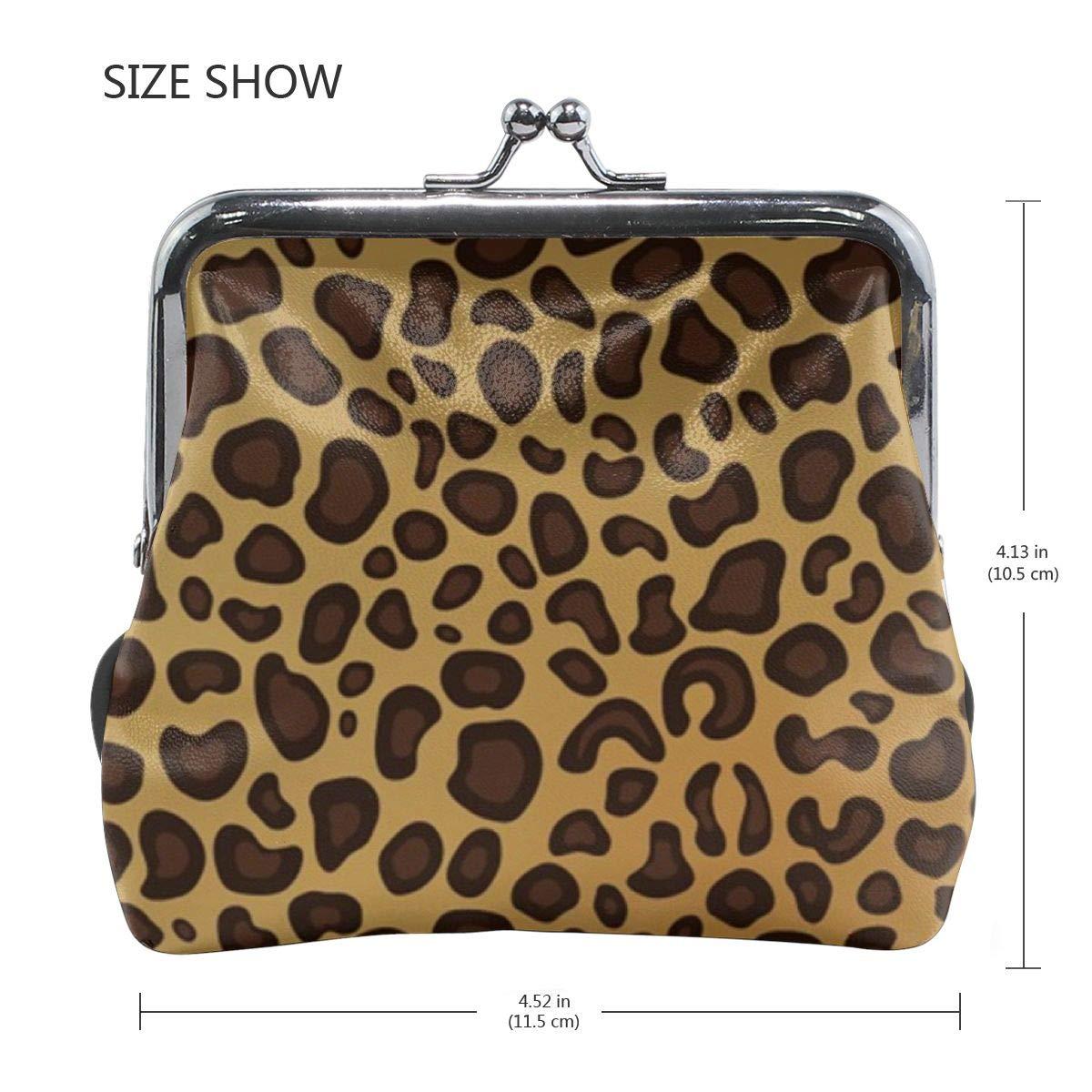 TYDhey Classic Leopard Skin Print Pattern Classic Buckle Coin Purses Leather Kiss-Lock Change Wallets