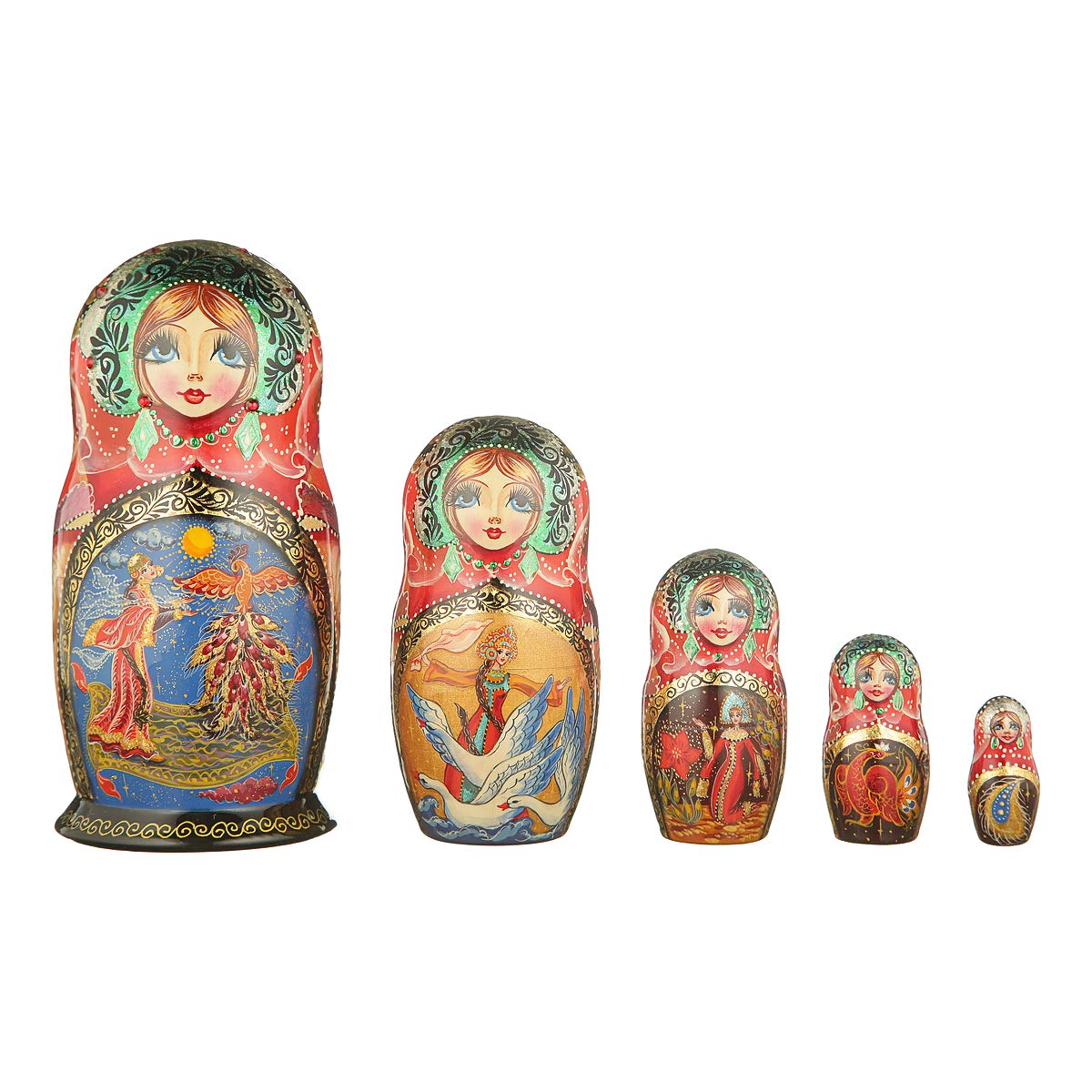 danila-souvenirs Russian Wooden Nesting Dolls Hand Painted Matryoshka 5 pcs Set Fairy Tale 6''