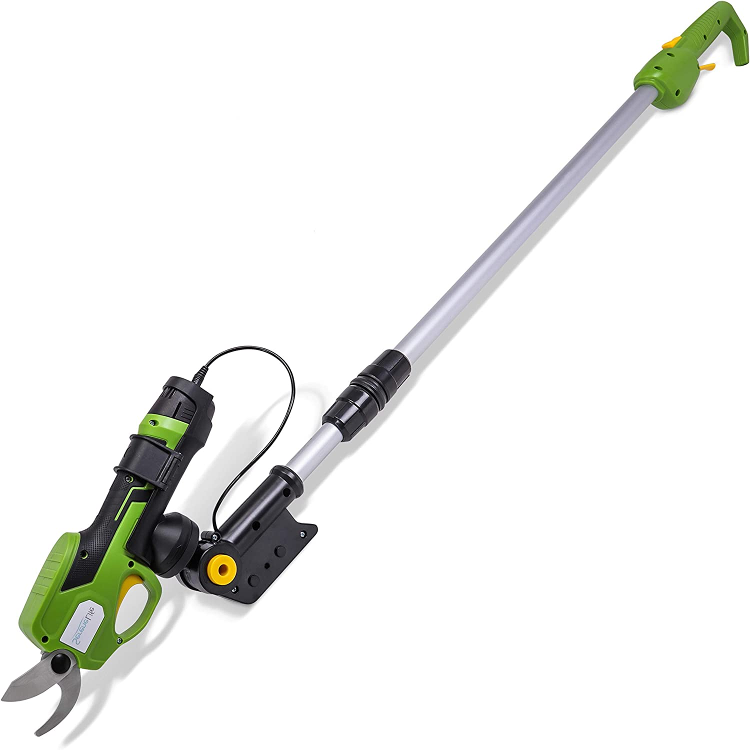 SereneLife Metal 7.2V Lithium-ion Rechargeable Battery Powered Electric Pruning Shears Garden Trimmer-Cordless Branch Cutter Pole Pruner w/Telescopic Handle PSPR190