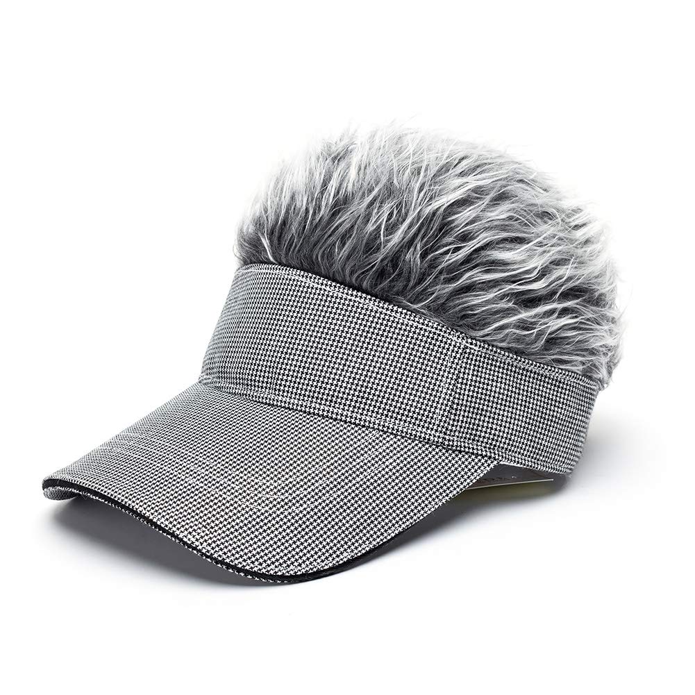 00b667fab62 ... OBERORA Novelty Sun Visor Cap Wig Peaked Adjustable Baseball Hat Spiked  Hair ...