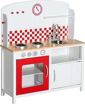HOMCOM Cucina Giocattolo per Bambini con Accessori in Legno 70 x 30 x 88cm