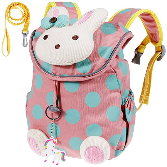 Lictin Kids Backpack Anti-lost Backpack Cute Bunny Backpack Cartoon Bag  Rabbit Animals Kids Backpack Baby Girls School Bag for Book with Fairy Tale  Unicorn ... 8b16ce11606ad