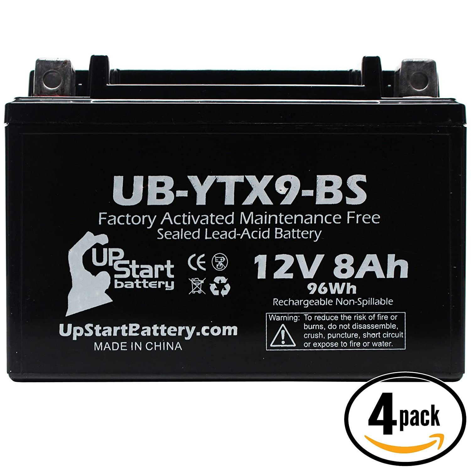 4-Pack Replacement 2001 E-Ton YXL150 Yukon 150CC Factory Activated, Maintenance Free, ATV Battery - 12V, 8Ah, UB-YTX9-BS