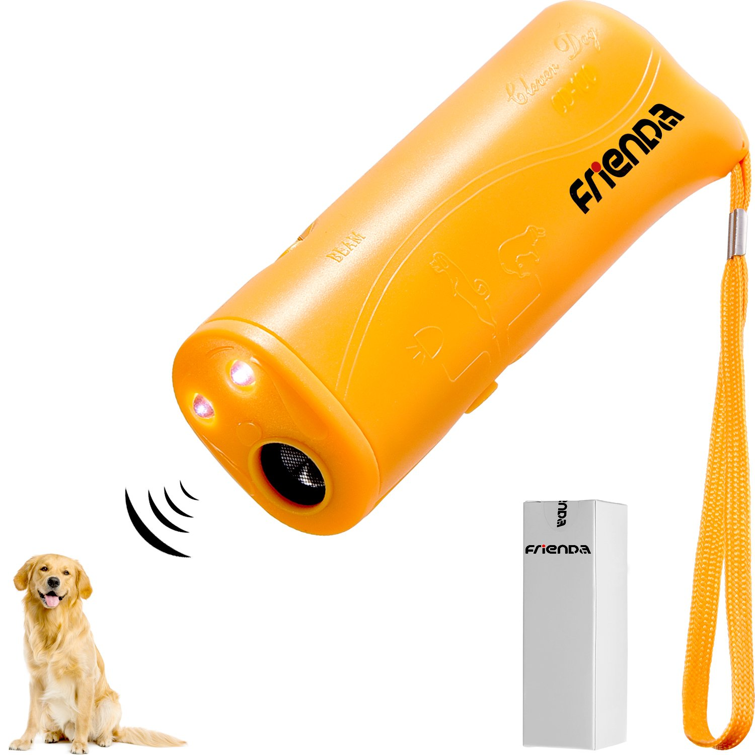 Frienda LED Ultrasonic Dog Repeller and Trainer Device 3 in 1 Anti Barking Stop Bark Handheld Dog Training Device (Yellow) by Frienda