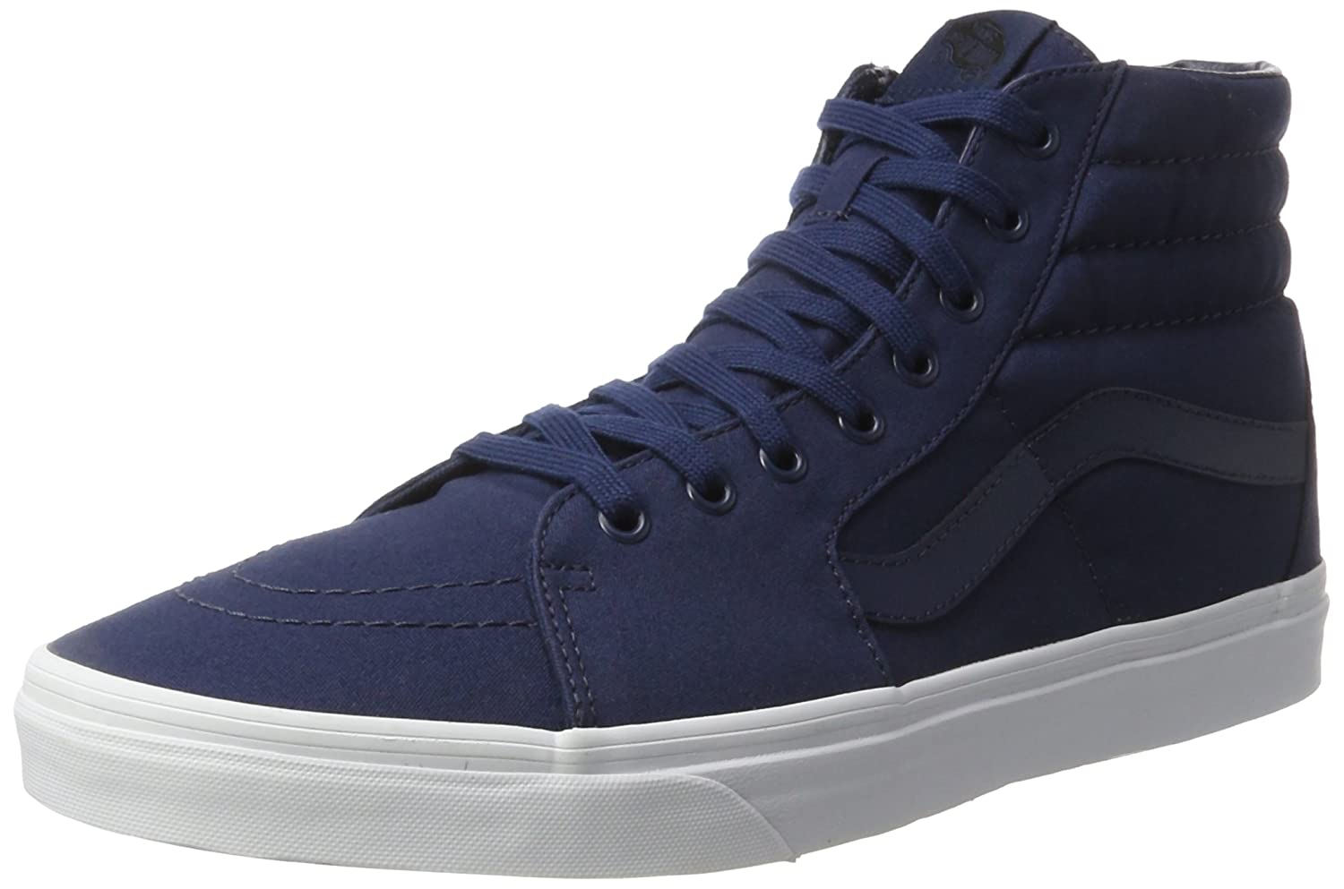 Vans Sk8-Hi Unisex Casual High-Top Skate Shoes, Comfortable and Durable in Signature Waffle Rubber Sole B01I46HL8A 9.5 M US Women / 8 M US Men|Dress Blues/True White