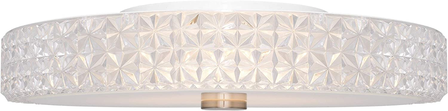 """Kira Home Maxine 15"""" Modern Flush Mount Ceiling Light, Integrated 20W LED (120W eq.), Clear Crystal Style Shade + Round Glass Diffuser, 3000k Warm White Light, White Finish - -"""