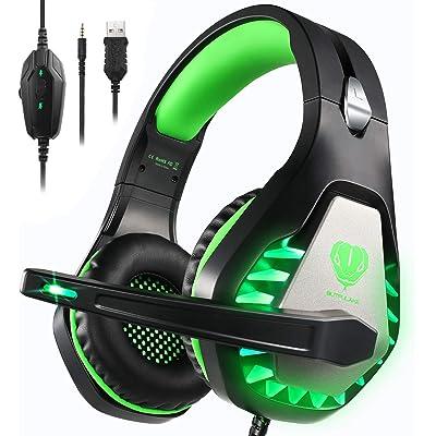 Auriculares Gaming PS4,Cascos Gaming de Estéreo con Micrófono Bass Surround y Cancelación de Ruido Auriculares Compatible para PC/Xbox One/Nintendo Switch/Mac Cascos Gaming 3.5mm Jack con Luz LED