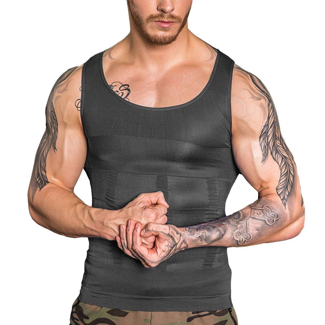 SAILORSTAR Men Compression Shirt Gynecomastia Body Shaper Vest for Slimming Chest Stomach (Black1, Large/38.2-42.1 inch Waist)