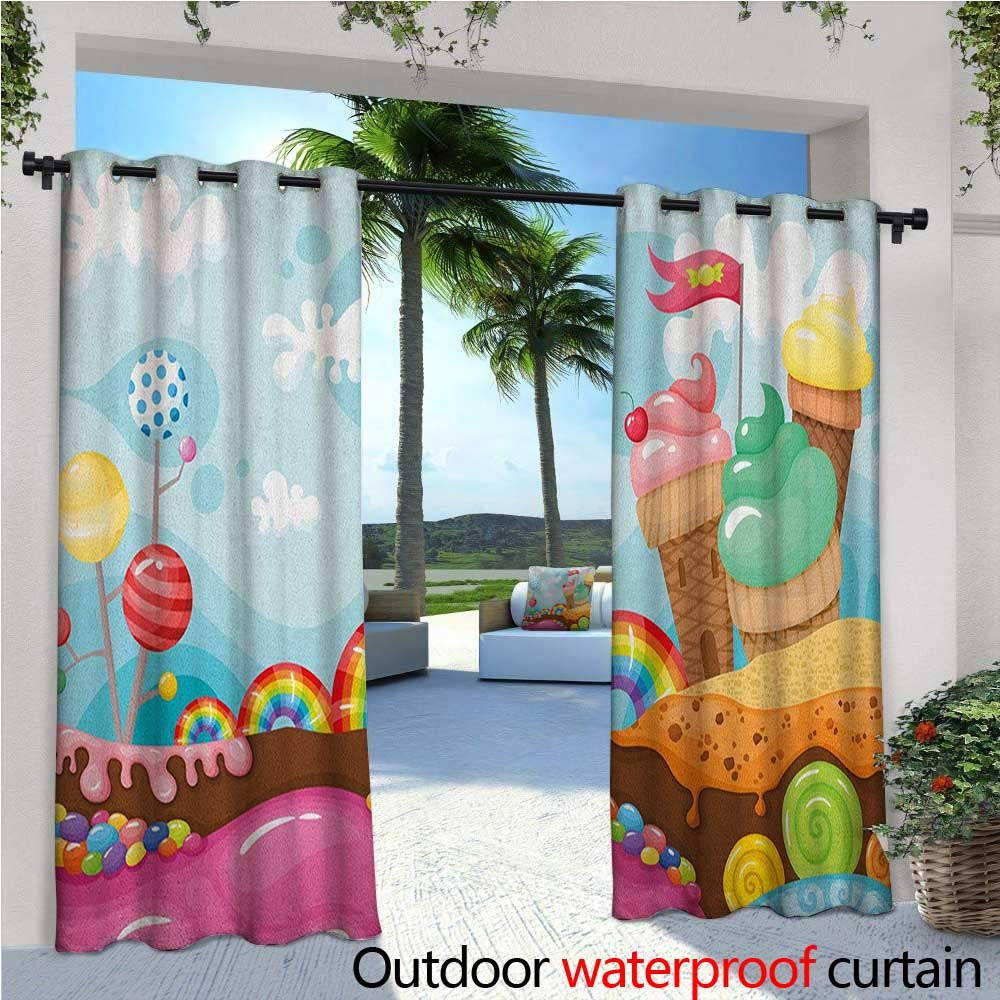 Ice Cream Outdoor- Free Standing Outdoor Privacy Curtain Dessert Land with Rainbow Candies Lollipop Trees and Cupcake Mountains Cartoon for Front Porch Covered Patio Gazebo Dock Beach Home W84'' x L84 by familytaste