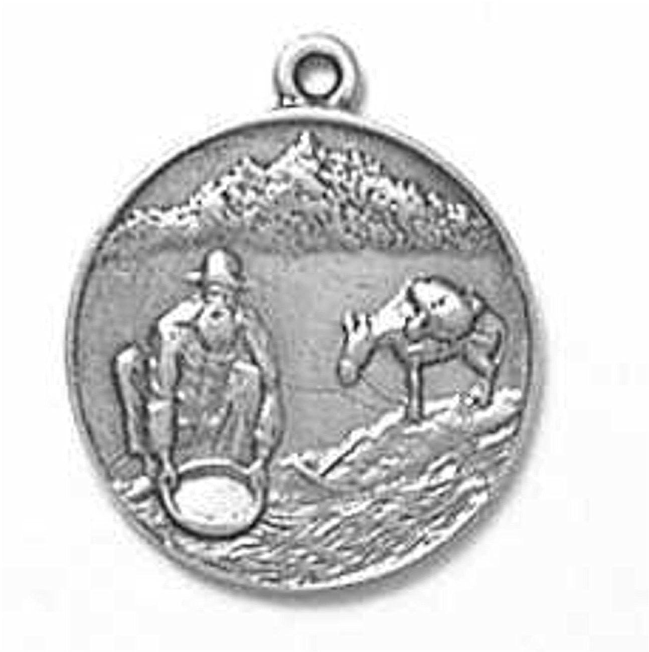 Sterling Silver Girls .8mm Medallion Arizona Gold Panner Donkey Pendant Necklace