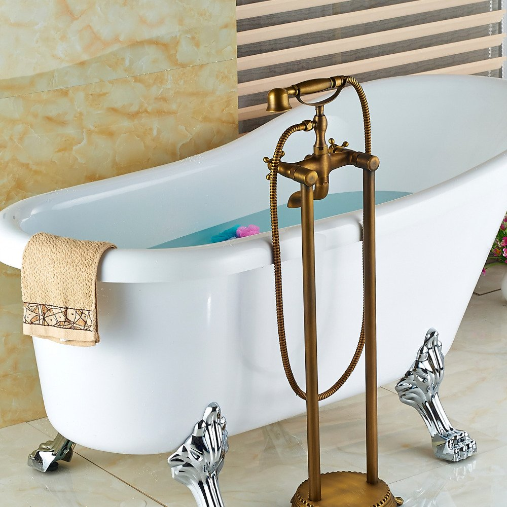 Ohcde Dheark Antique Brass Bathroom Floor Mounted Tub Faucet Hand ...