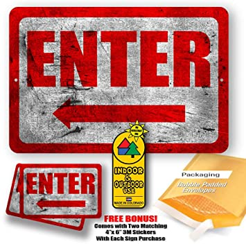 Enter Sign Right Arrow Metal Business Novelty Tin Indoor And Outdoor Use Gifts