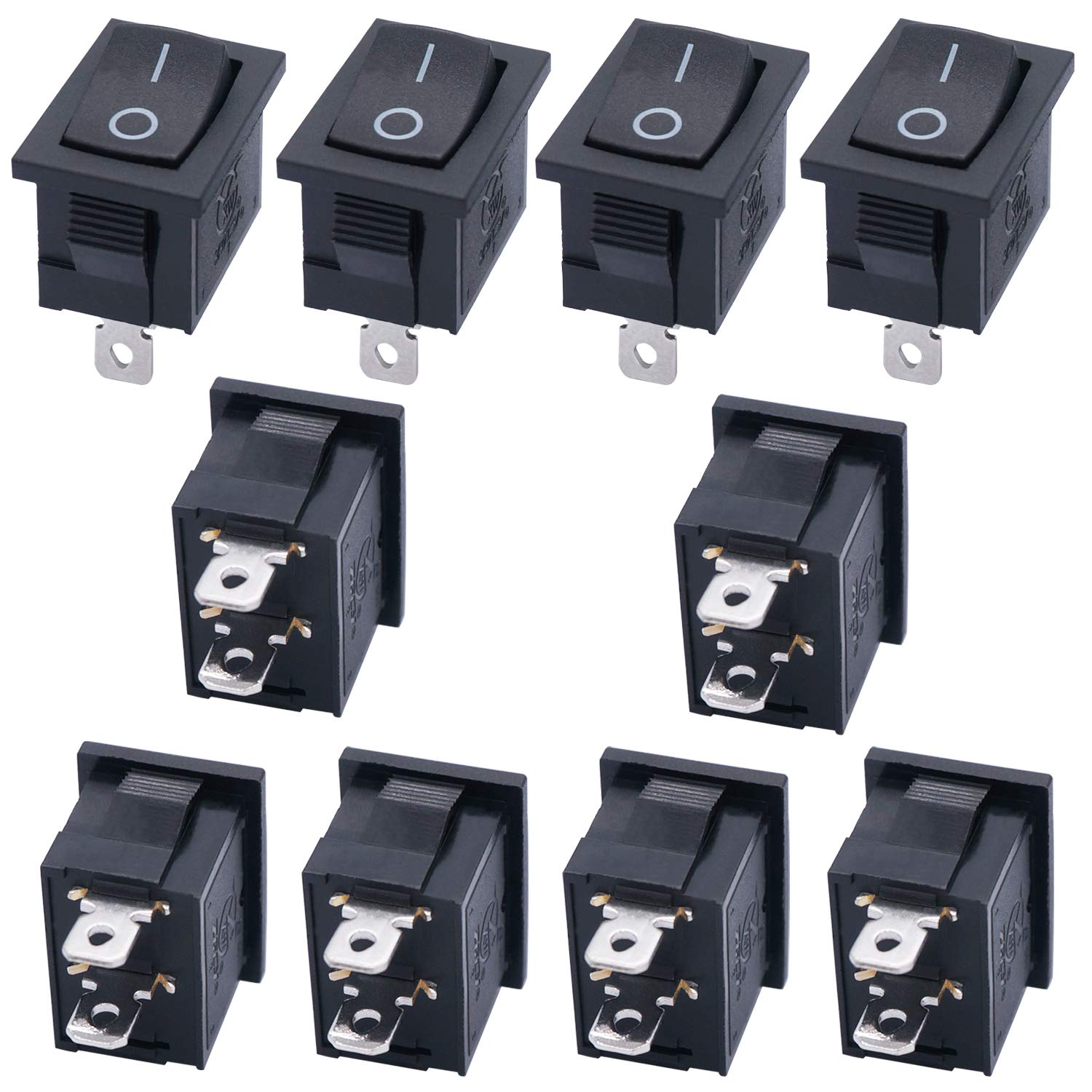 10Pcs Heavy Duty 10A 125V 15A 250V SPST 2 Pin ON//OFF Rocker Toggle Switch US