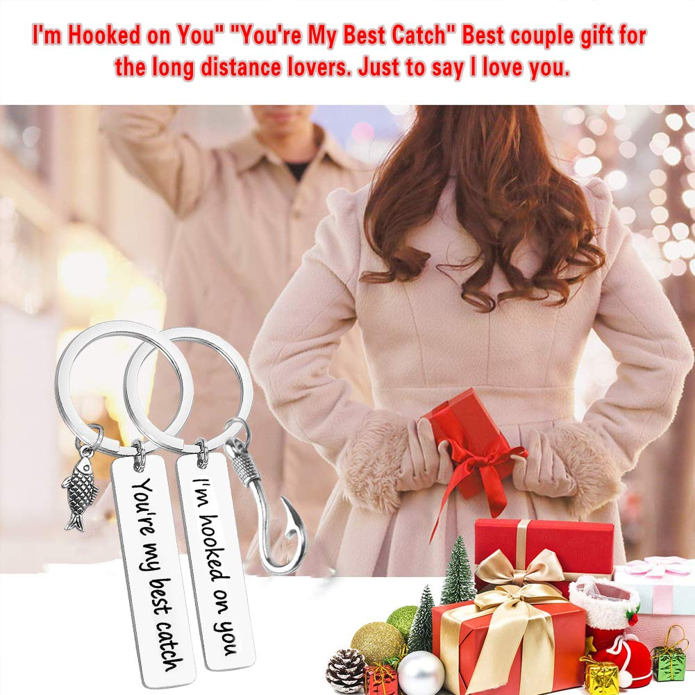 Couple Keychain I'm Hooked on You You're My Best Catch Keychain Set  Fisherman Gift Fishing Lure Jewelry Couple Gift for Lovers Boyfriend  Girlfriend(2