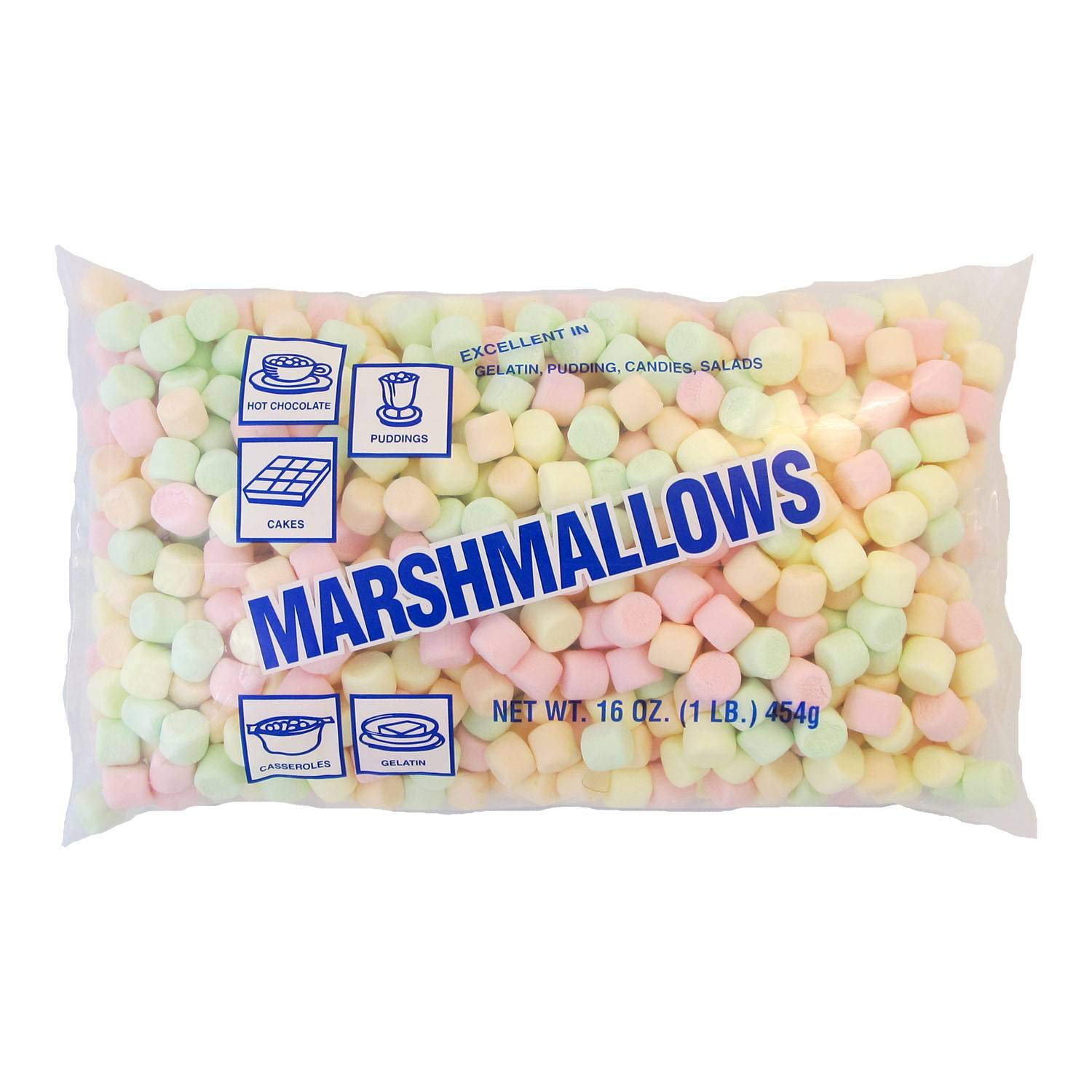 Clown Global Brands Mini Colored Marshmallows - 1 lb. poly bag, 12 per case by Clown Global Brands