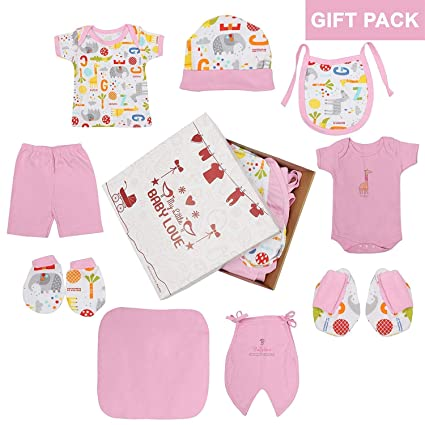 e0509568e785 Kurtzy New Born Baby Gift Dress Pure Cotton Jabla Clothing with Nappies  (0-6 Months)(Set of 8) (Pink)  Amazon.in  Baby