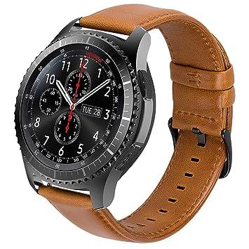 iBazal Correas Galaxy Watch 46mm Cuero 22mm Banda Piel Pulseras Compatible con Samsung Gear S3 Frontier Classic Reemplazo para Huawei Watch 2 ...