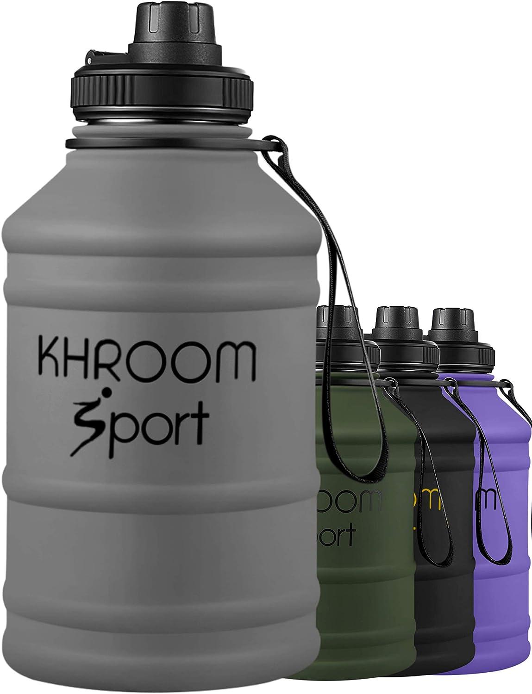 Khroom® Botellas de Agua de Acero Inoxidable de 2.2 litros | Botella Deportiva de Agua con Revestimiento de Goma Mate | XXL Botella de Agua Libre de DEHP y BPA