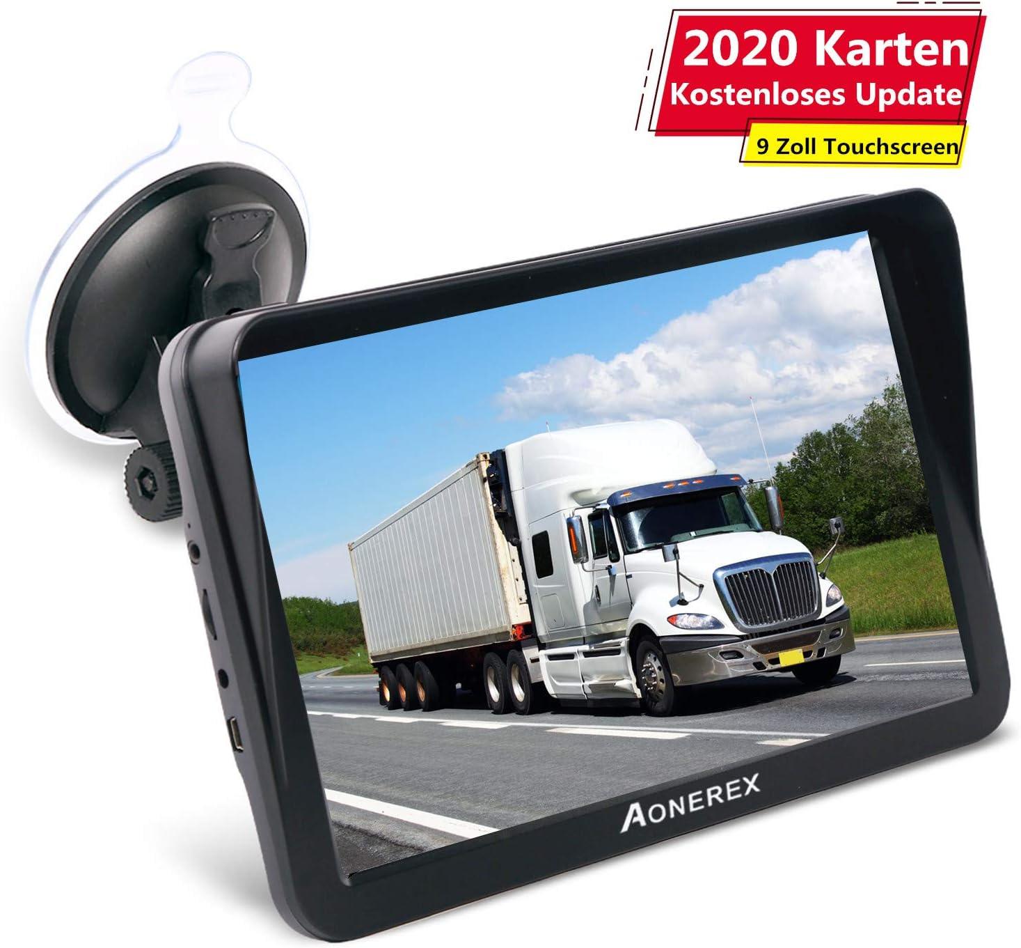 Aonerex - Navegador GPS para Coche, camión, Coche, 9 Pulgadas, con Parasol, guía de Voz, Asistente de Carril, mapas de Europa, actualizaciones de mapas de por Vida