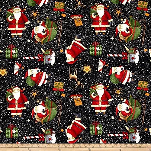 Wilmington Prints Santa's Big Night Santas' Big Night Toss Black Fabric by The Yard