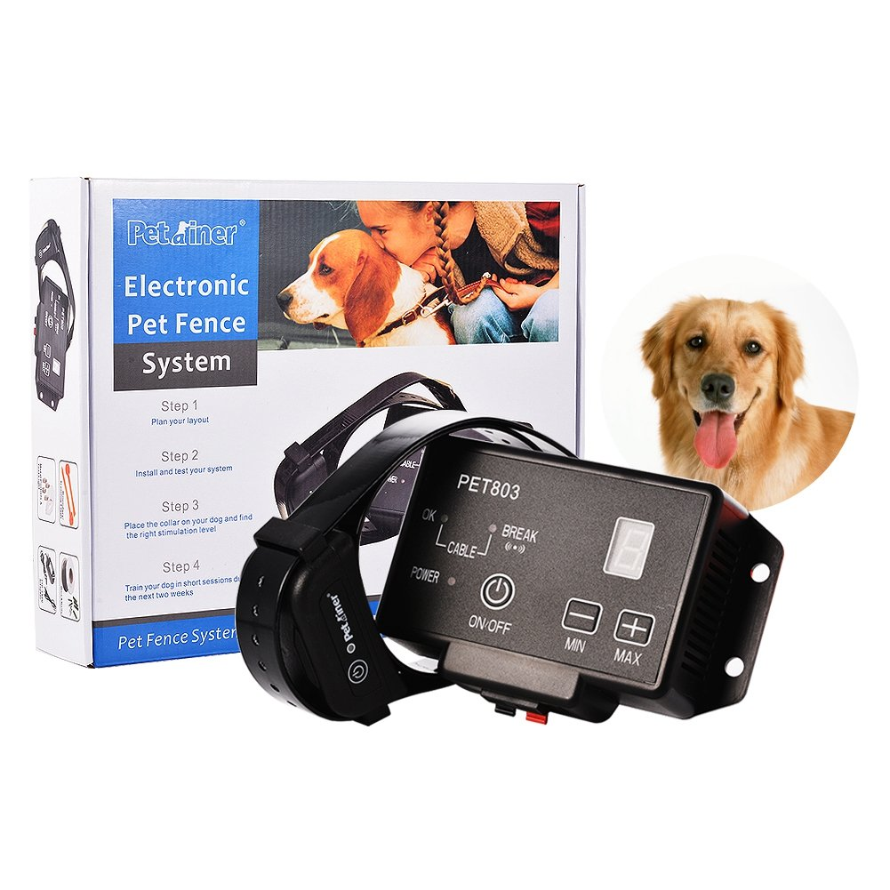 Dog Fence System Training Collar   IdealHouse Wireless Pet Containment System with Radio & Ground Cord Electric Transmitter & Easy Plug Play Setup Rechargeable Waterproof Collar