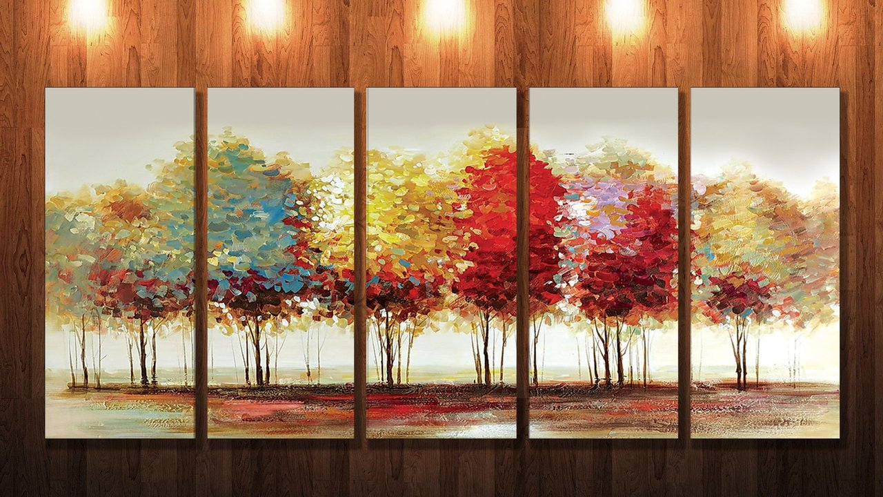 SAF 5 Panel Trees Ink Painting (Synthetic, 24 Inch X 50