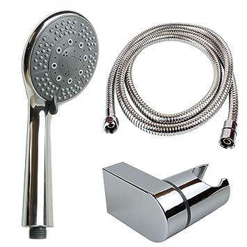 Handbrause Duschkopf mit 5 Funktionen inkl Metall-Schlauch 150 cm und Halterung
