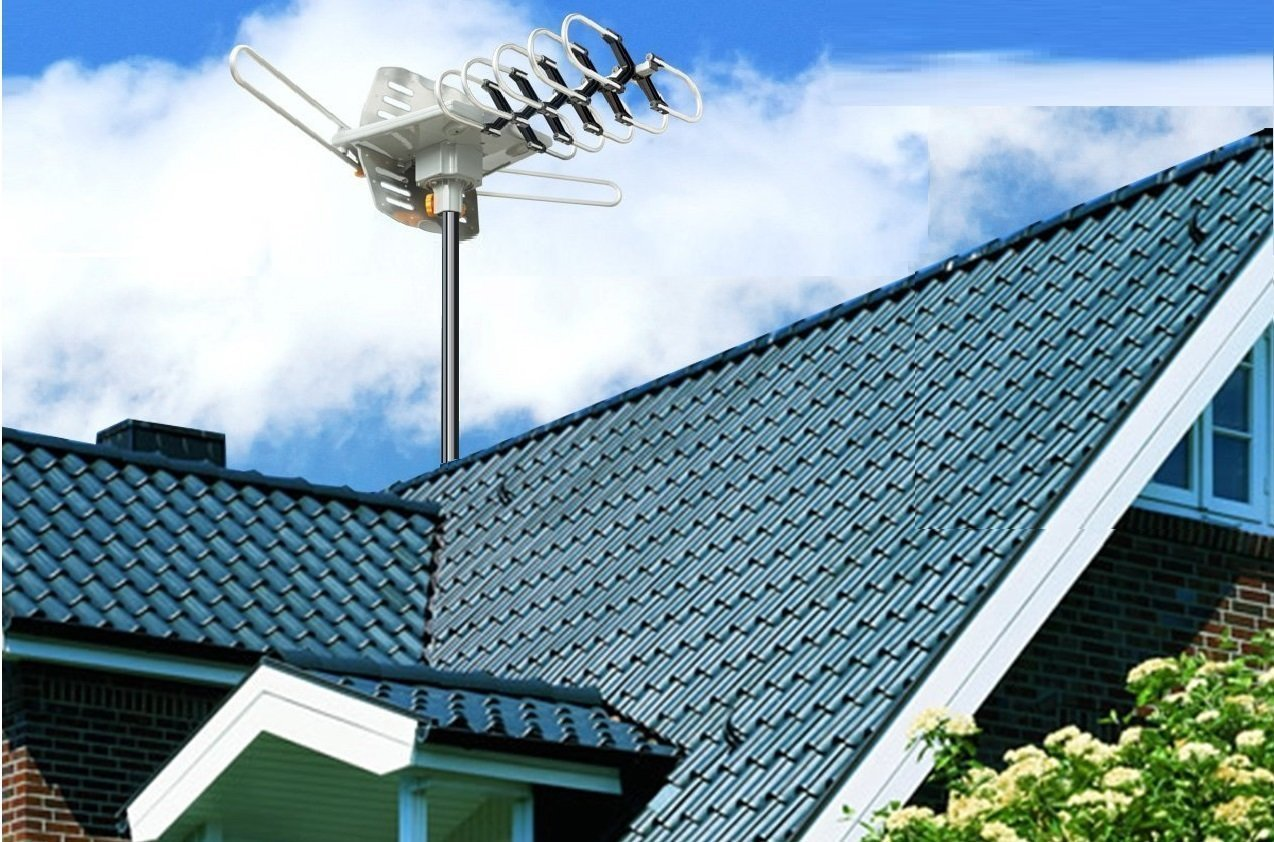Amazon.com: Jeje TV Antenna Amplified 150 Miles HD Digital Outdoor HDTV ,  360° Rotation (Non Mount Pole): Electronics