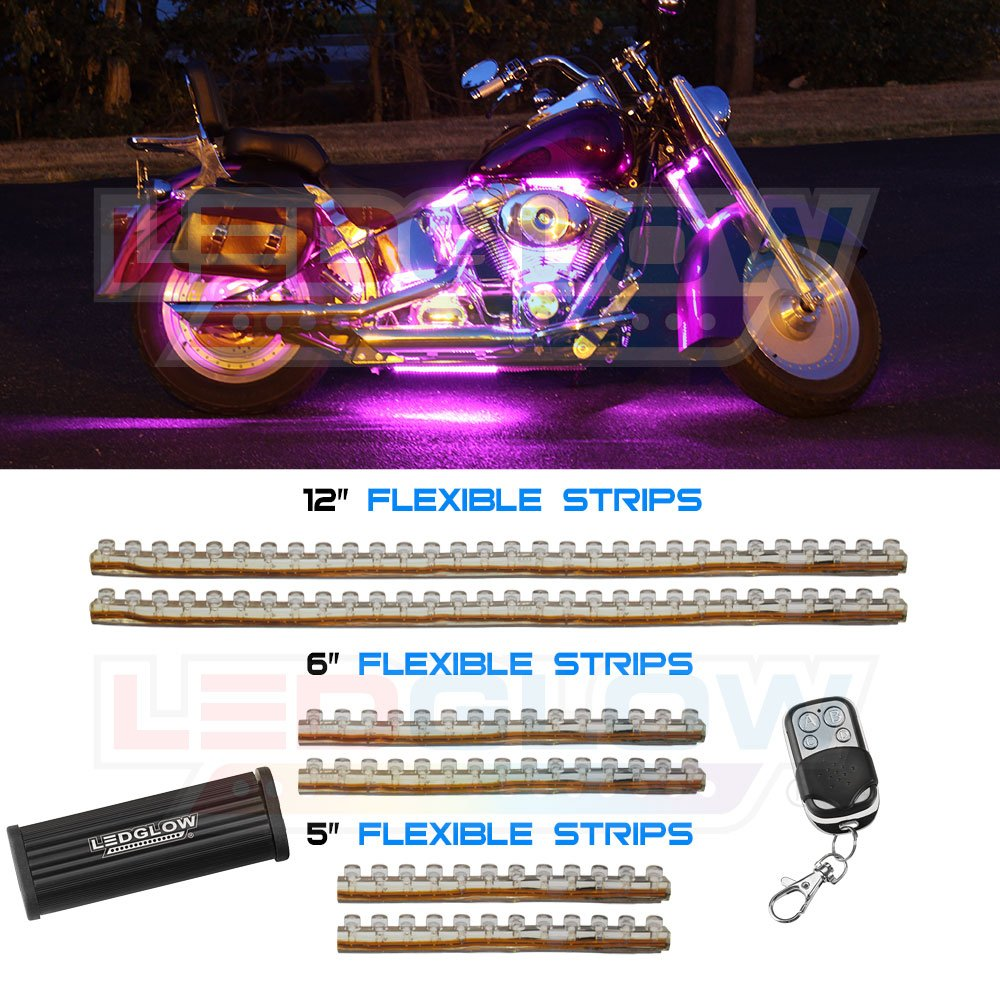 Ledglow 6pc Pink Flexible Motorcycle Lighting Kit 114 Leds Strobe And Flash Modes Wireless Remote