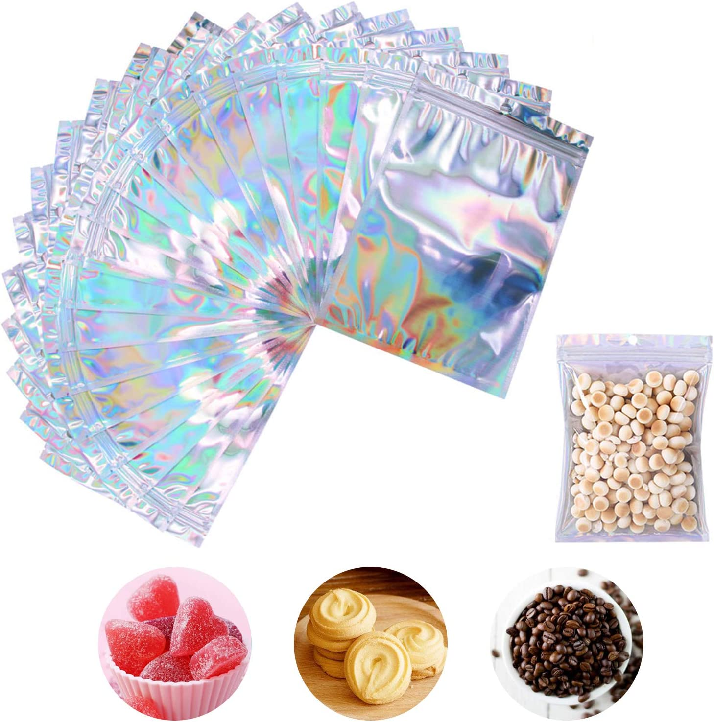 100 Pieces Holographic Bags for Packaging Products, Reusable Smell Proof Aluminum Foil Candy Cookie Food Snack Plastic Zip Lock Packaging Bags (Glossy Holographic, 3