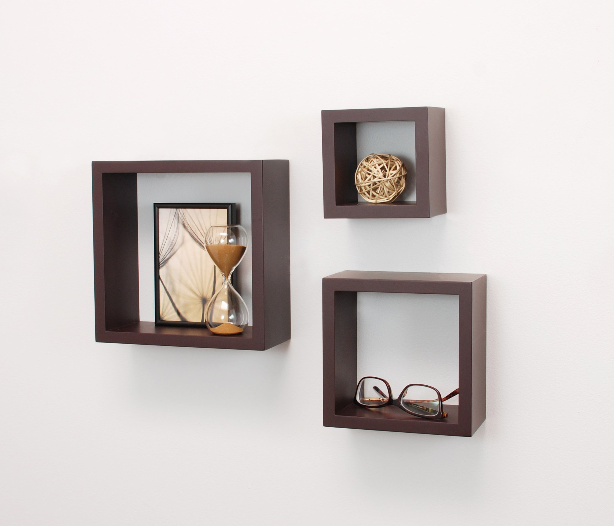 "kieragrace Cubbi Floating Wall Shelves, 5"" x 5"", 7"" x 7"", 9"" x 9"", Espresso, Set of 3 - 3-piece wall-mounted shelf set offers a clean, contemporary display style MDF construction in three sizes: small, medium, and large Small: 5x5x4"", Medium: 7x7x4"", Large: 9x9x4"" - wall-shelves, living-room-furniture, living-room - 71SpBfBSJxL -"