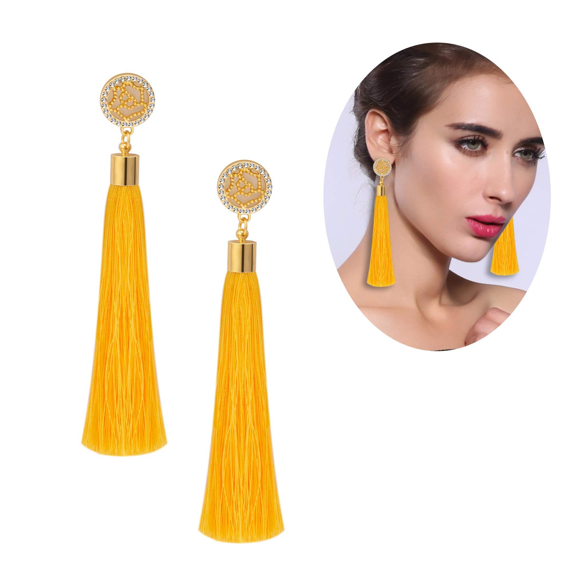 Yellow Tassel Earrings Set Tassel Drop Earrings Druzy Round Top Earring Studs For Women