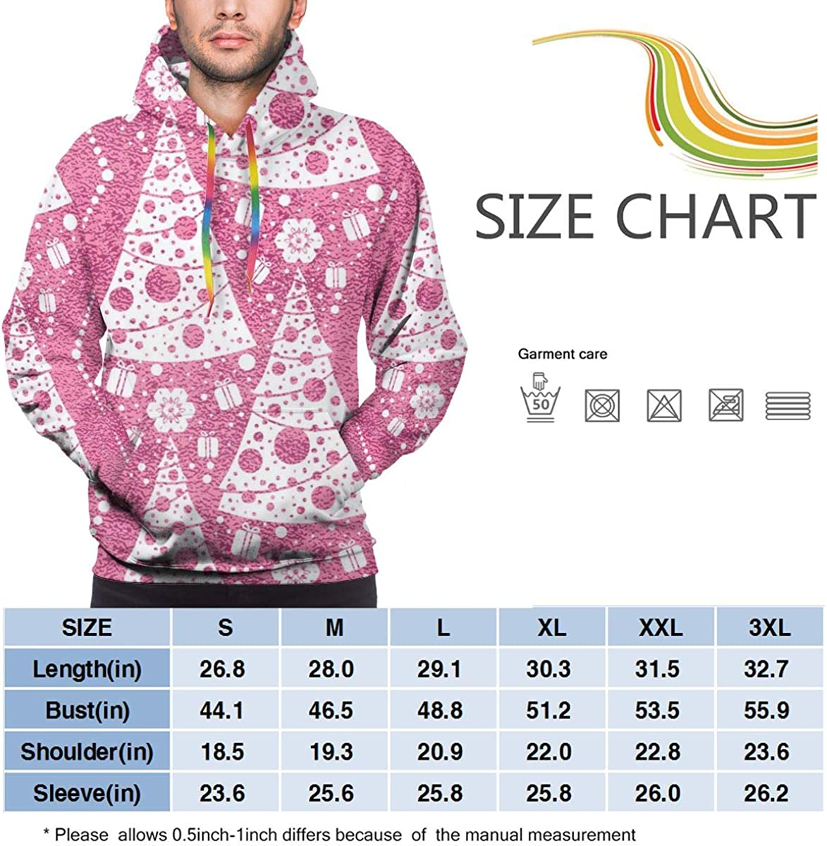 Christmas Trees Pink Pullover Hooded Sweatshirts for Boys Mens ...