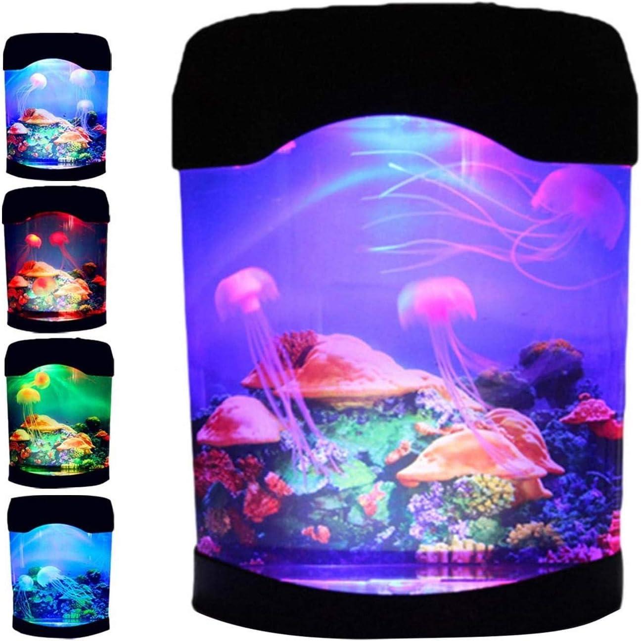Lámpara de medusas con 7 colores cambiantes, portátil, lámpara de estado de ánimo, lámpara de lava, lámpara de estado de ánimo, lámpara de lava, carga por USB, luz nocturna para el de oficina en casa