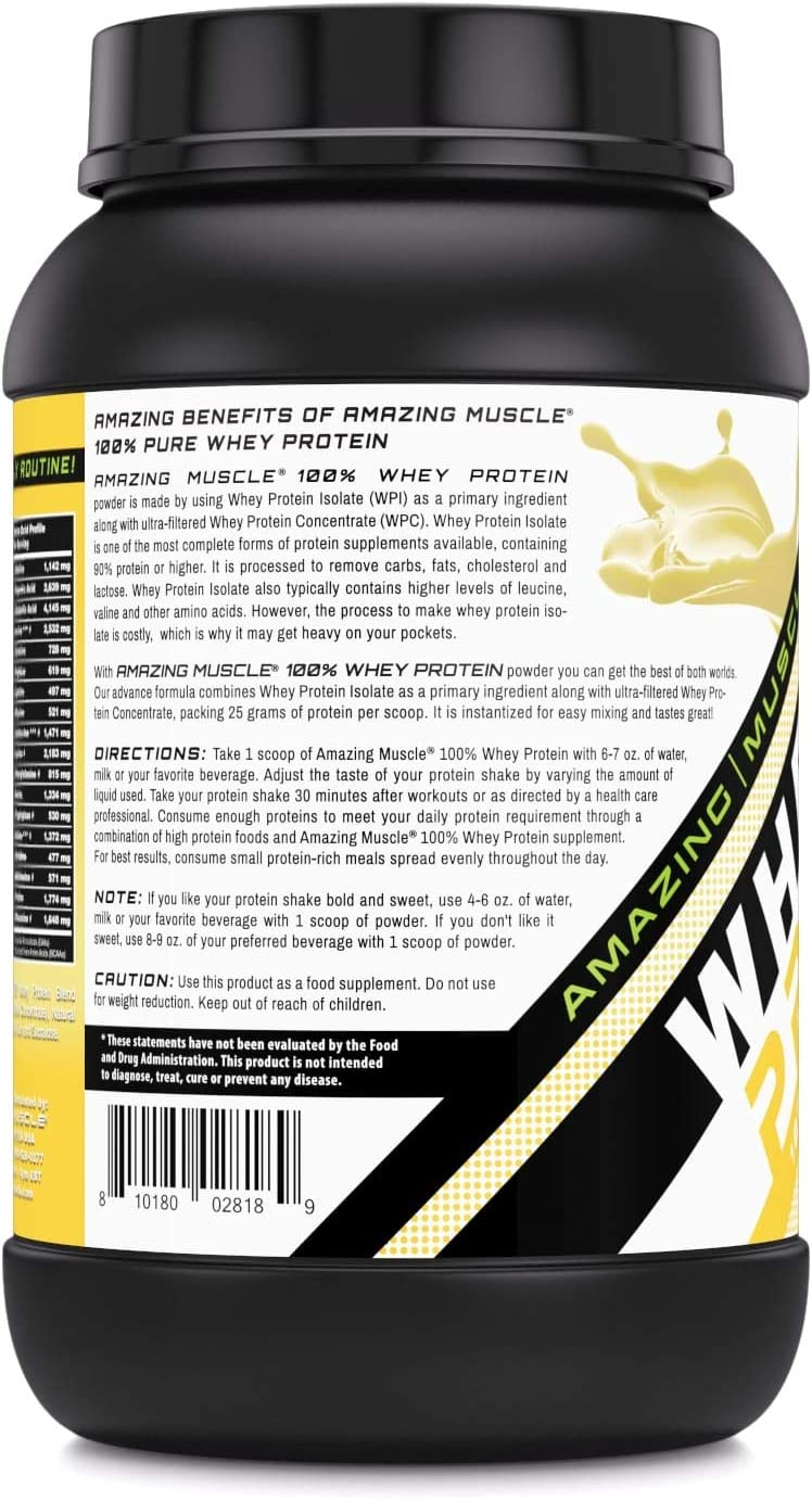 Amazing Muscle 100% Whey Protein Powder *Advanced Formula With Whey Protein Isolate as a Primary Ingredient along with Ultra Filtered Whey Protein ...