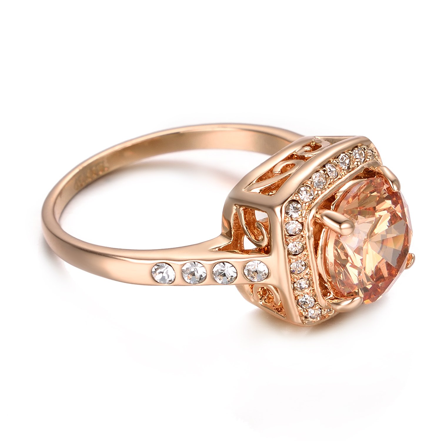 Yoursfs Halo Pink Opal Stone Diamante Rings for Women Party Fashion Jewellery 18ct Rose Gold Plated Prom Dress Statement Ring 4D5YjFCdpB