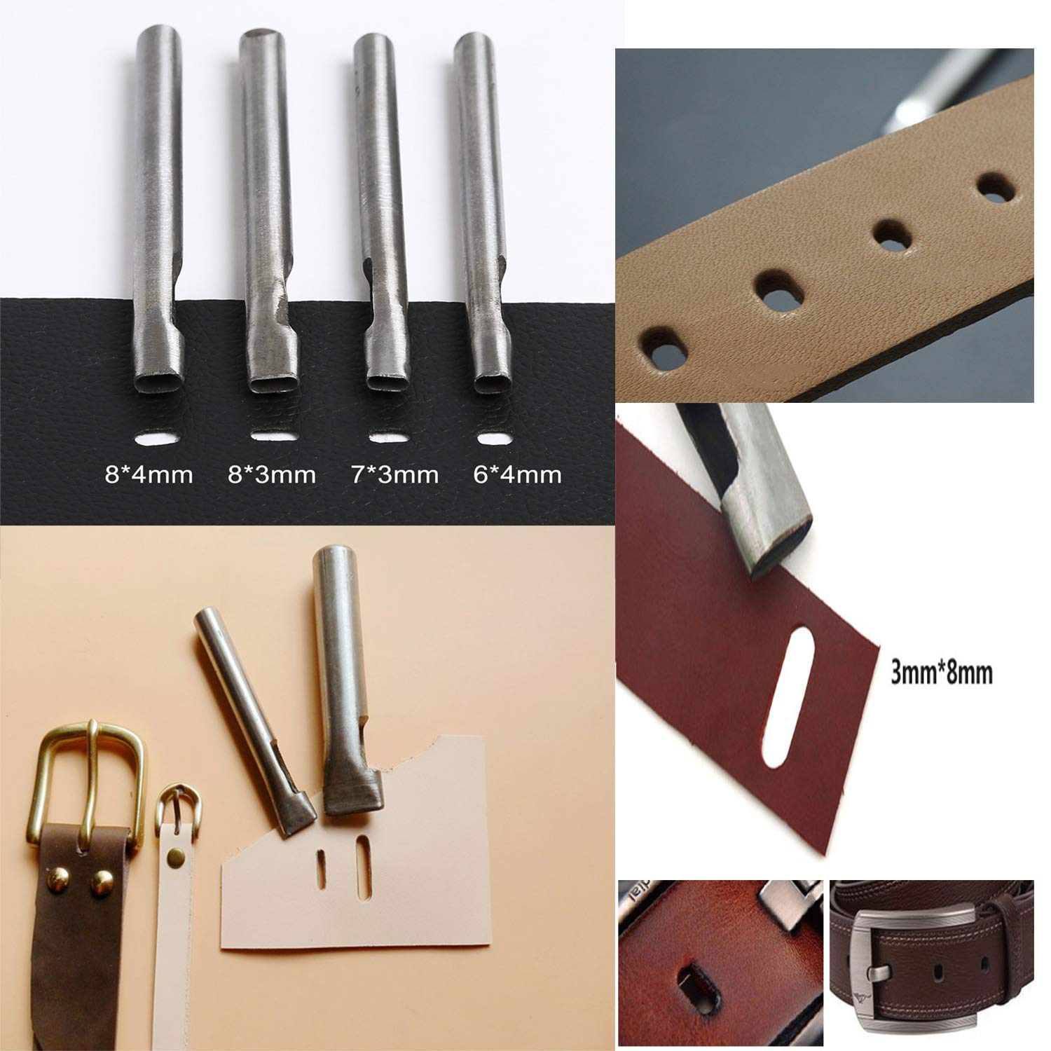 Dorhui 372 Pieces Leather Crafting Tools,Leather Tools Leather Working Tools and Supplies, Leather Craft Stamping Tool, Prong Punch, Hole Hollow Punch, Matting Cut for DIY Leather Artworks by Dorhui (Image #6)