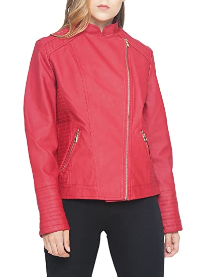 Buy The Indian Garage Co Women S Slim Fit Biker Jackets 6602 Red L Red Large At Amazon In