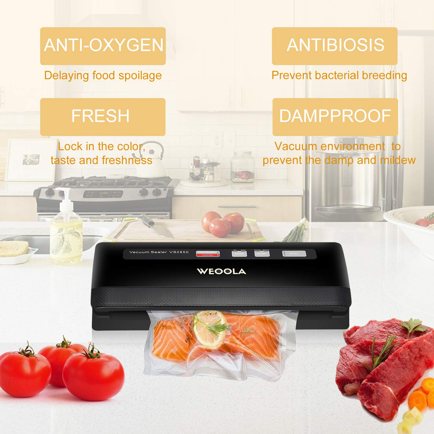 Vacuum Sealer/Food Sealer,Automatic Vacuum Air Sealing System For Food Preservation,Papers,Jewelry and Electronics | 3 sealing options | 4 Food Modes  | Led Indicator Lights | 10 Sealer Bags for Free
