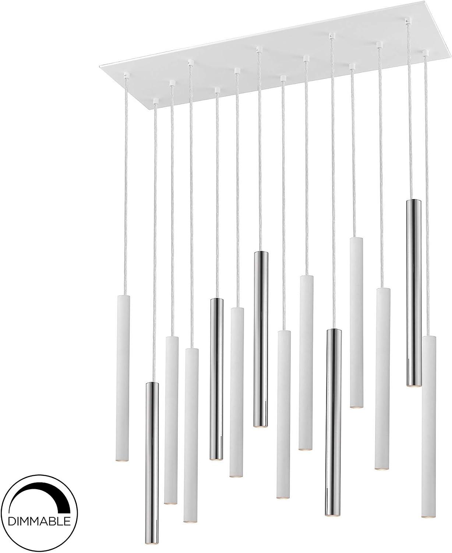 Lámpara SCHULLER VARAS de 14 luces LED. Realizada en metal acabado cromo y blanco mate. Difusor acrílico opal. 70W LED, 6,300 lm, 3.000 K. DIMABLE: Amazon.es: Iluminación