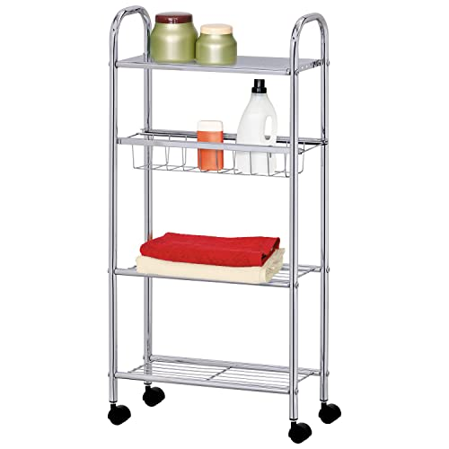 Tatkraft Cute Slim 4 Tier Bathroom Kitchen Cart Storage Trolley, Chromed  Steel, 16X39X80H