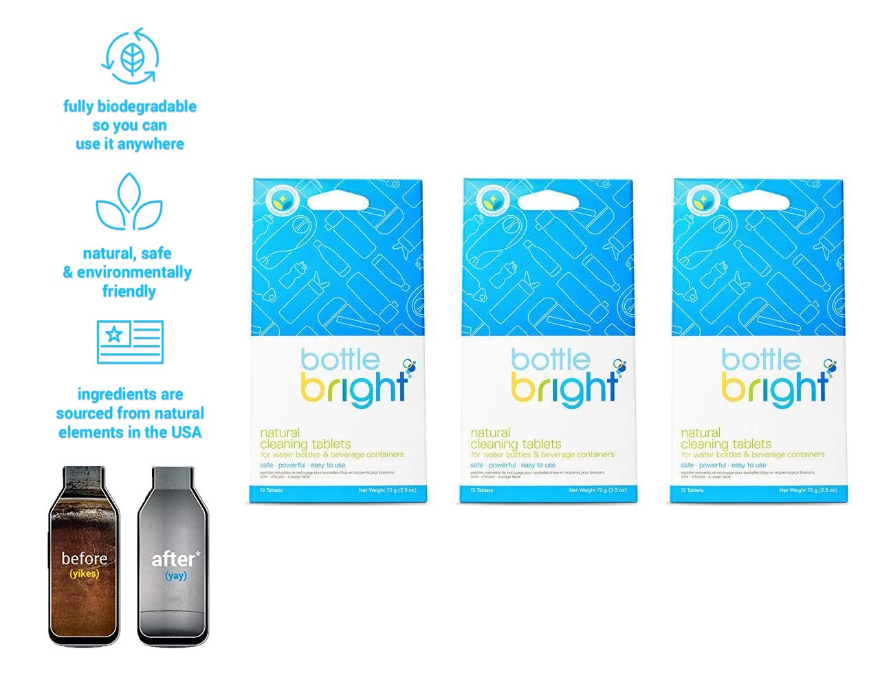 Bottle Bright 3 Pack (36 Tablets) - All Natural, Biodegradable, Chlorine & Odor Free Water Bottle & Hydration Pack Cleaning Tablets by BOTTLE BRIGHT
