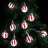 Amazon Price History for:LANGRIA Red and White Stripe Globe Ball String Lights Battery Powered 20 LEDs, 7.22 FT/2.2M Long for Indoor Use, Holiday, Festival, Party Decoration